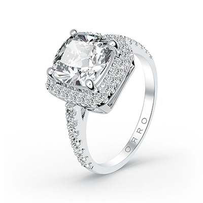 ORRO Amazing Cushion Cut Ring (1.0ct) in 18K White Gold