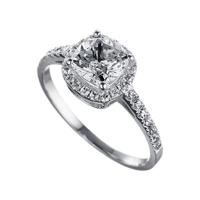 ORRO Amazing Cushion Cut Ring (1.0ct) in 18K Yellow Gold