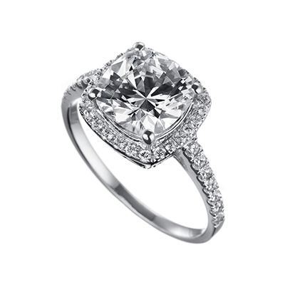 ORRO Amazing Cushion Cut Ring (2.15ct) in 18K Yellow Gold
