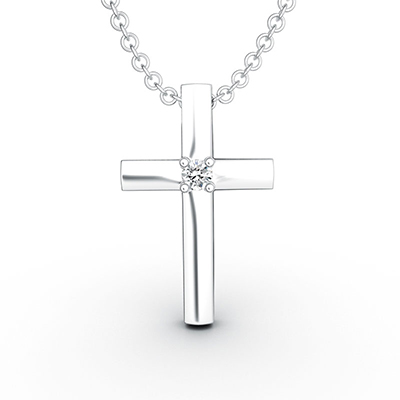 ORRO Jewel-Centred Cross Pendant in 18K Rose Gold