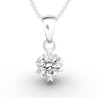 ORRO Six Spark Pronged Classic Drop Diamond Pendant (1.0ct) in 18K White Gold