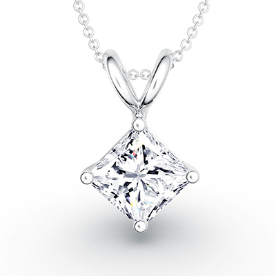 ORRO Double-Loop Princess Cut Pendant