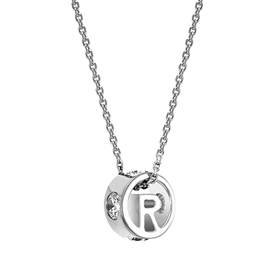 The ORRO Colette Initials Pendent (Brilliance) in 18K White Gold