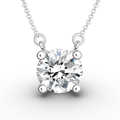 ORRO Ultimate Solitaire Pendant (0.75ct) in 18K White Gold