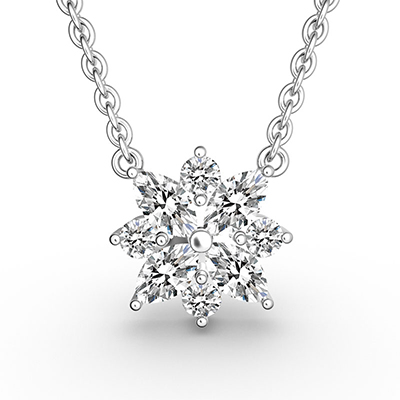 ORRO Snowflake Pendant in 18K White Gold