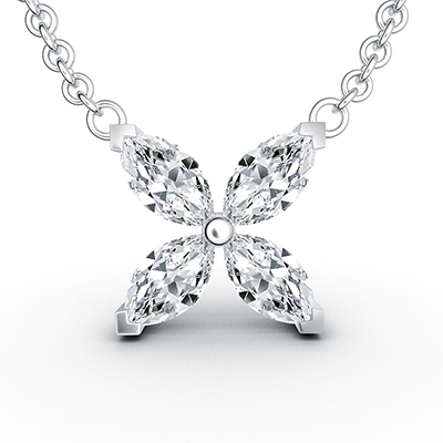 ORRO Lucky Petal Pendant in 18K White Gold
