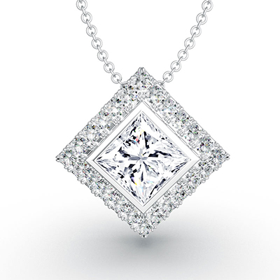 ORRO Princess Cut Square Halo Pendant (0.75ct center stone) in 18K White Gold
