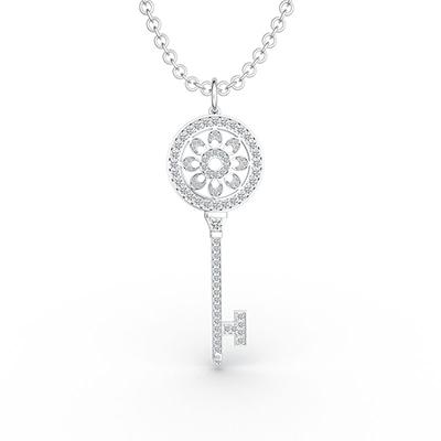 ORRO Flowery Key Pendant in 18K Rose Gold