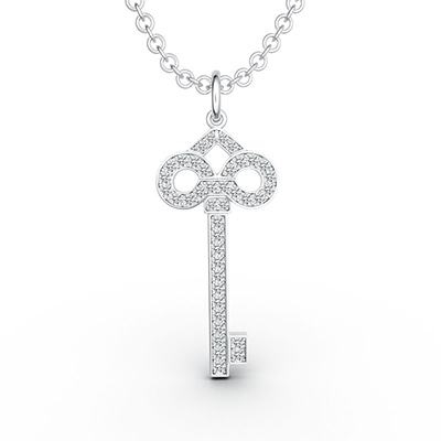 ORRO Dazzling Key Pendant in 18K White Gold