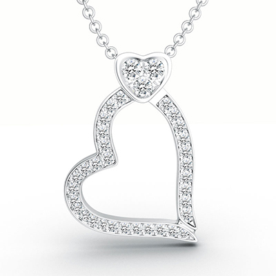 ORRO Love Edition Dual Hearts Pendant in 18K White Gold