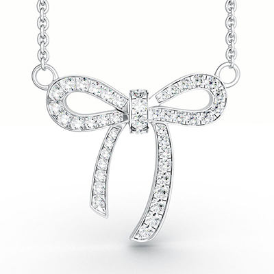 ORRO Bow Ribbon Pendant in 18K White Gold