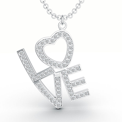 ORRO Love Edition Classic Pendant in 18K White Gold