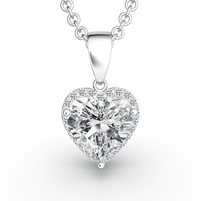ORRO Raised Heart Pendant (3.0ct center stone) in 18K White Gold