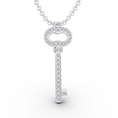 ORRO Sophisticated Key Pendant in 18K White Gold