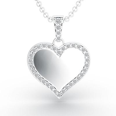 ORRO Classic Heart Rimmed Pendant in 18K White Gold