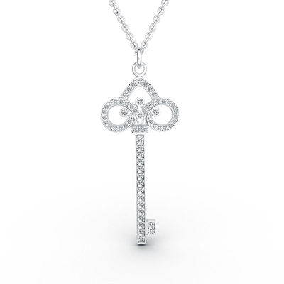ORRO Ornate Key Pendant in 18K White Gold