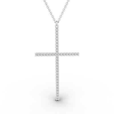 ORRO Take Up Your Cross Pendant in 18K White Gold