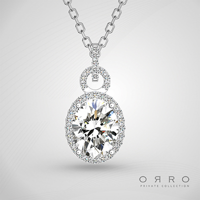 ORRO Endless Time Oval Pendant in 18K Rose Gold