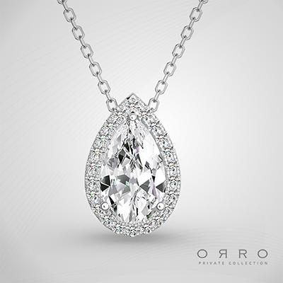 ORRO Encrusted Pear Pendant