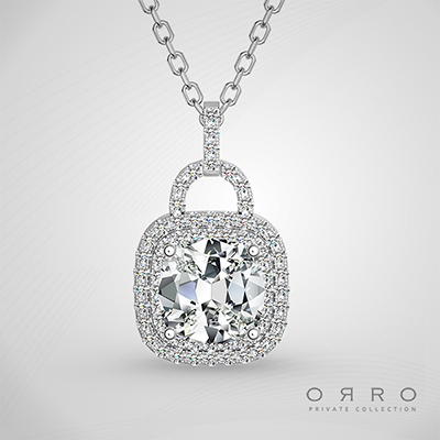 ORRO Unlock My Heart Pendant (1.0ct Cushion Cut Stone)