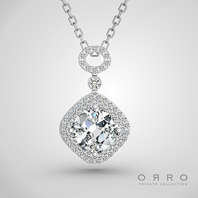 ORRO Chamfer Pendant  (1.45ct Cushion Cut Stone)