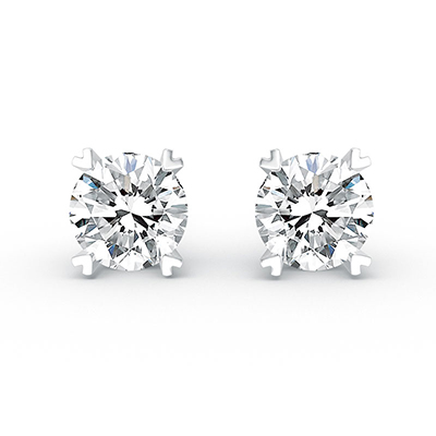 ORRO Barely There Earrings (0.75ct stone each side) in 18K White Gold