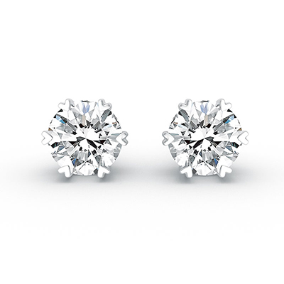 ORRO Hearts All Over The World Earrings (0.50ct stone each side) in 18K White Gold