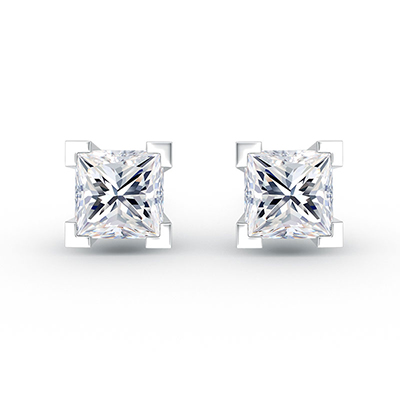 ORRO Cufflinked Earrings (0.50ct stone each side) in 18K White Gold