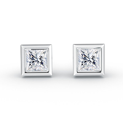ORRO Pictureframe Earrings (0.50ct stone on each side) in 18K White Gold