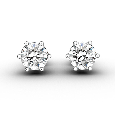 ORRO Six-Pronged Round Brilliant Solitaire Stud-Earrings (1.0ct) in 18K White Gold