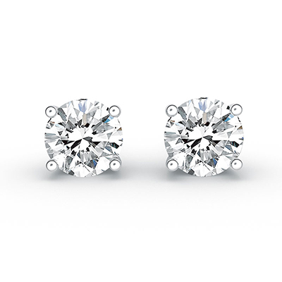 ORRO Prongs All Round Earrings (2.0ct stone on each side) in 18K White Gold