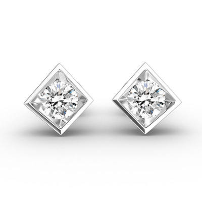 ORRO Modern Square Bezel-Set Round Brilliant Cut Stud Earrings in 18K White Gold