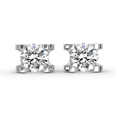 ORRO Timeless Earrings (0.75ct stone on each side) in 18K White Gold