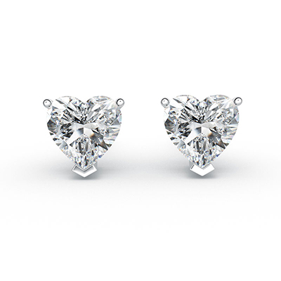 ORRO Raised Heart Earrings (0.5ct each side) in 18K White Gold
