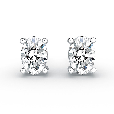 ORRO Prongs All Oval Earrings (1.0ct stone on each side) in 18K White Gold