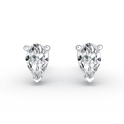 ORRO Peardrop Earrings (0.30ct  stone on each side) in 18K White Gold