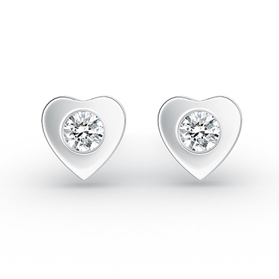 ORRO Warmest of Hearts Earrings in 18K White Gold