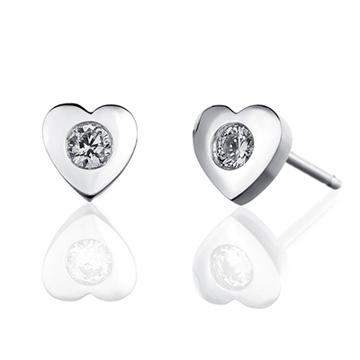 ORRO Romaine Hearts Earrings in 18K White Gold