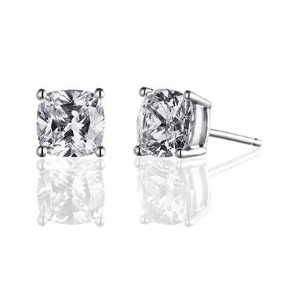 ORRO Classic Cushion Solitaire Earrings (1.0ct on each side) in 18K Rose Gold