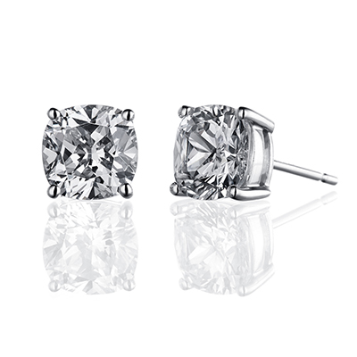 ORRO Classic Cushion Solitaire Earrings (1.45ct on each side) in 18K Yellow Gold