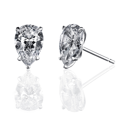 ORRO Classic Tear-drop Solitaire Earrings (1.06ct on each side)