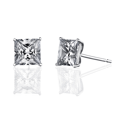 ORRO Classic Princess Solitaire Earrings (1.25ct on each side)