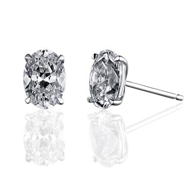 ORRO Classic Oval Solitaire Earrings (1.0ct on each side) in 18K Yellow Gold