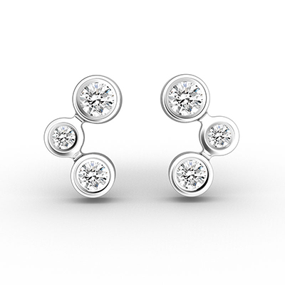ORRO Brilliant Trinity Earrings (Small) in 18K White Gold