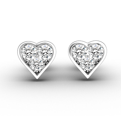 ORRO Heart Cage Stud Earrings (Small) in 18K White Gold