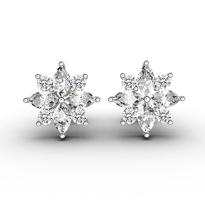 ORRO Flora Finish Stud Earrings in 18K White Gold