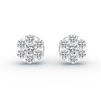 ORRO Almost Snow Earrings in 18K White Gold