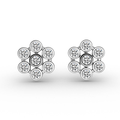 ORRO Round Flowers Earrings in 18K White Gold
