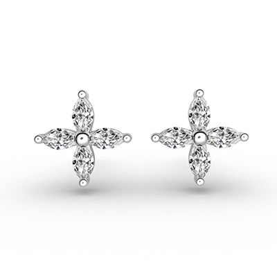 ORRO 4 Petals-Marquise Earrings in 18K White Gold