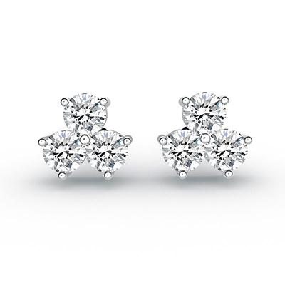 ORRO Trillium of stones Earrings in 18K White Gold